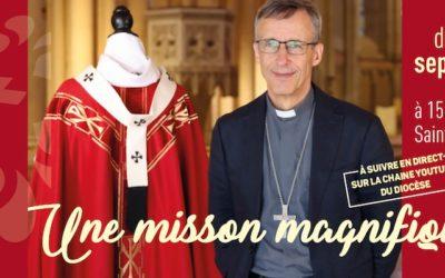 Remise du pallium à Olivier de Germay qui nous renvoie à l'image du bon pasteur de ce dimanche 18 juillet !